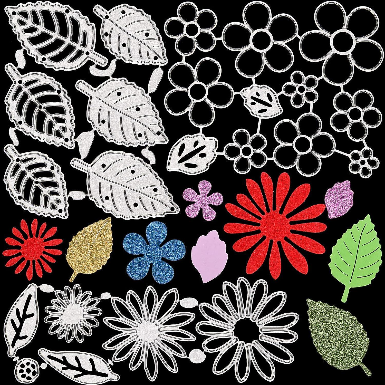 3 Sets Flower Metal Cutting Dies Flower Leaves Embossing Stencils 3D Flower Die Cuts Assorted Flower Leaves Cutting Dies for DIY Crafts Scrapbook Album Paper Cards Decors (Classic Style)