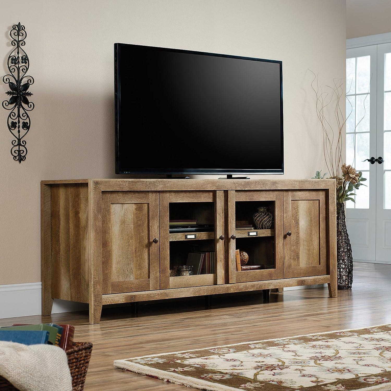amazon com sauder dakota pass tv stand in craftsman oak kitchen