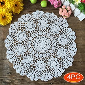 Elesa Miracle 16 Inch 4pc Handmade Round Crochet Cotton Lace Table Placemats Doilies Value Pack, Flower, Beige/White (4pc-16 Inch White)