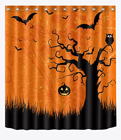 LB Black Magic Forest Owl Vintage Orange Background Shower Curtains For Stall Cartoon Halloween