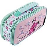 Fringoo, Federmäppchen für Jungen / Mädchen, mit 2Fächern und Griff Large Flamingo Yoga - 2 Compartments