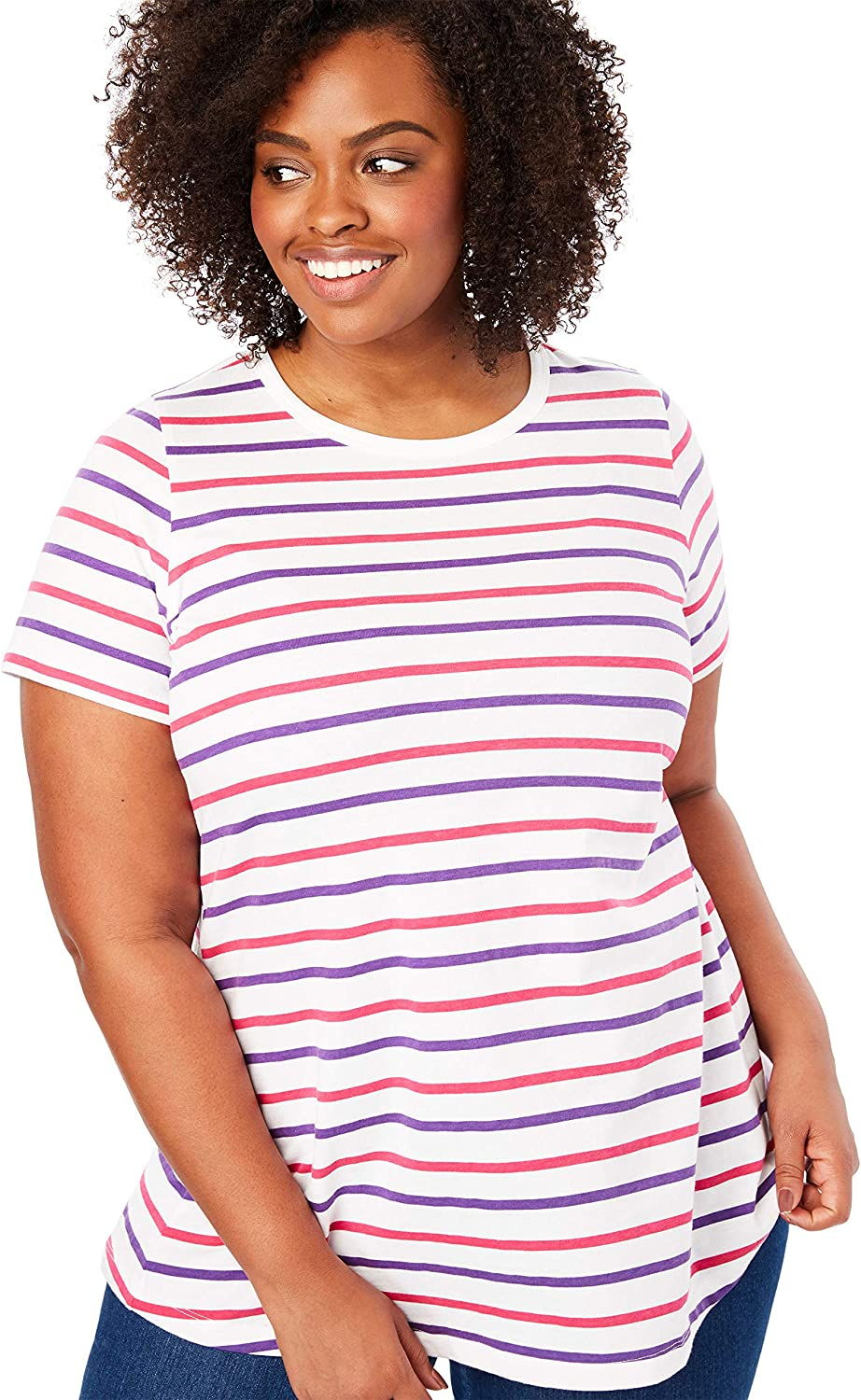 Woman Within Womens Plus Size Perfect Crewneck Printed Tee