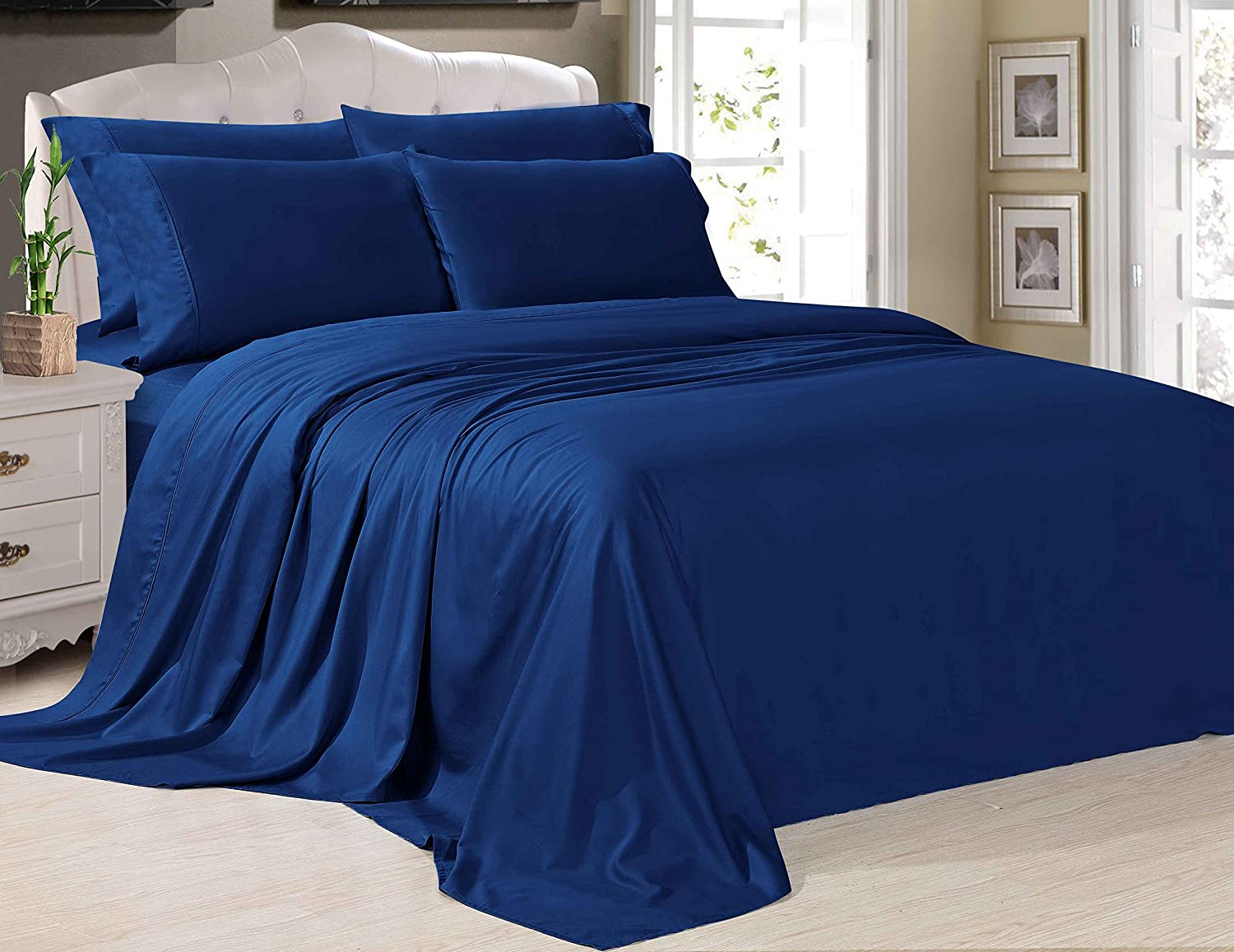 Style Silky Soft Bamboo Cotton Bedding Sheet Set - Queen, Navy
