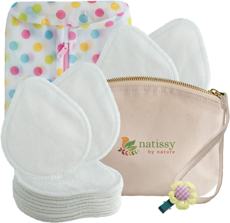 Discos de lactancia lavables de Bambú, 14 Almohadillas de Enfermería Reutilizables suaves y cómodos HECHAS EN LA UE; para lactancia materna; EXTRA Bolsa de Lavandería y de Almacenar; Regalo para bebé