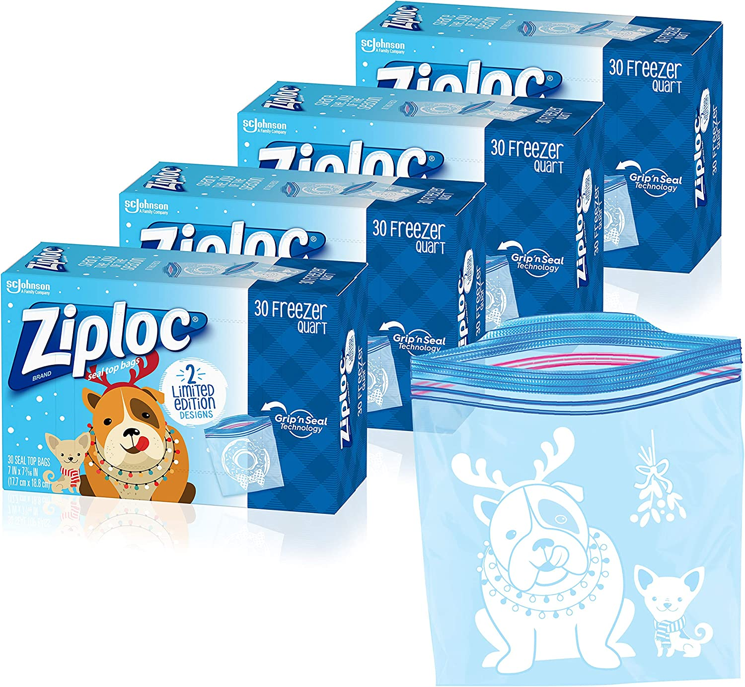 Ziploc Freezer Bags with New Grip 'n Seal Technology, Quart, 120 Count, Holiday Designs