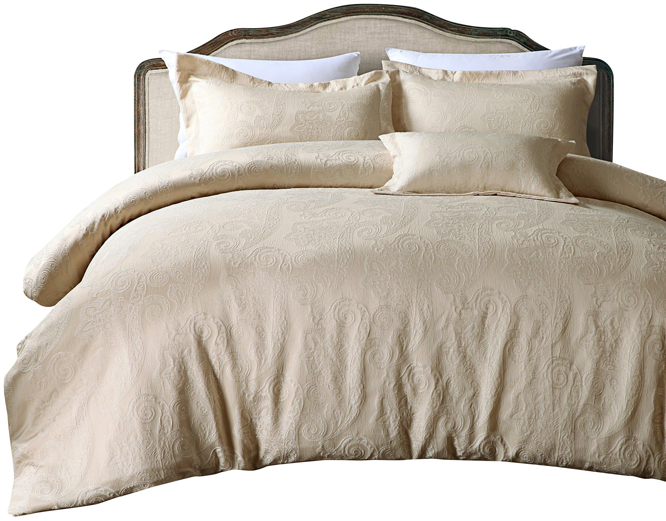 California Design Den Hotel-Paisley-Luxe-CS Comforter Sets, King, Royal Taupe