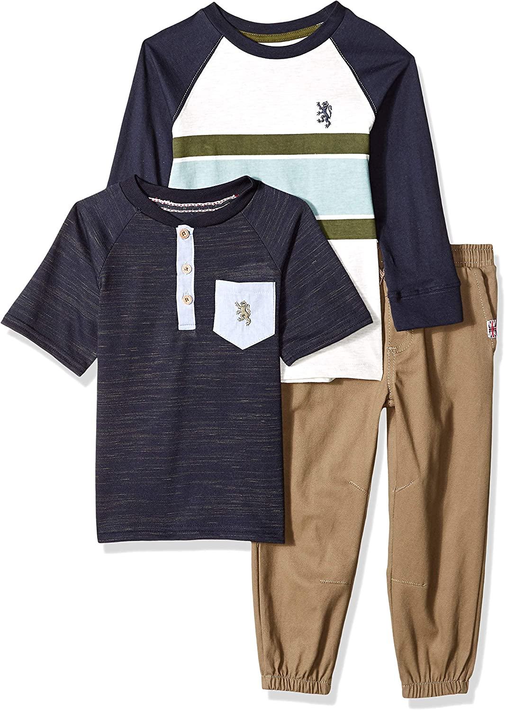 English Laundry Boys' Long Sleeve, Henley T-Shirt, and Jogger Pant