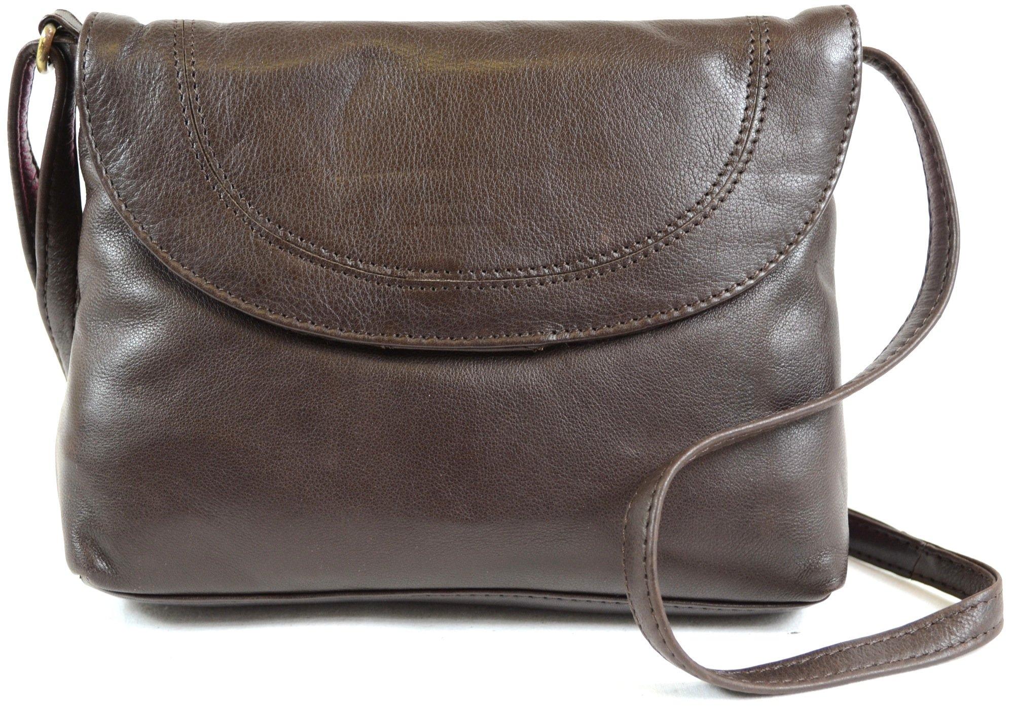 Ladies Soft Premium Leather Shoulder/Cross Body Bag (Brown)