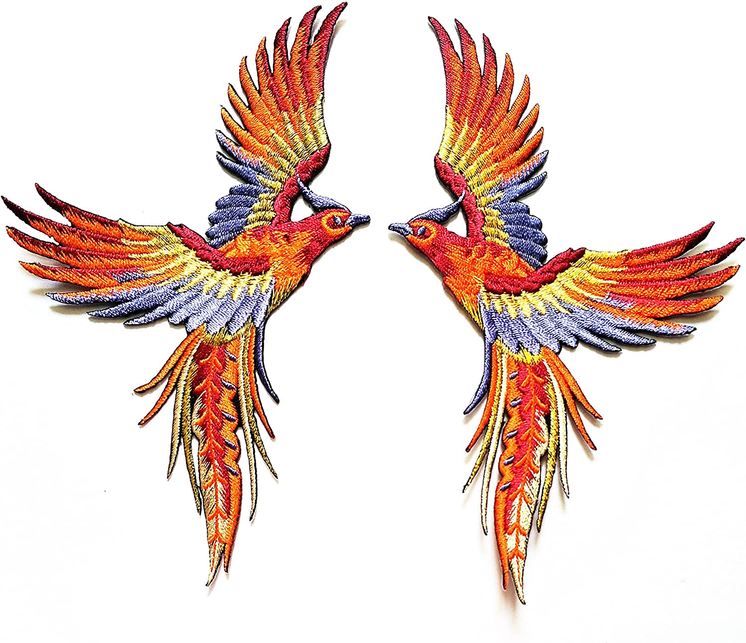 Nipitshop Patches Phoenix Phenix Birds Orange Wine Purple Gold Embroidered Appliques Iron-on Patches for Clothes Backpacks T-Shirt Jeans Skirt Vests Scarf Hat Bag