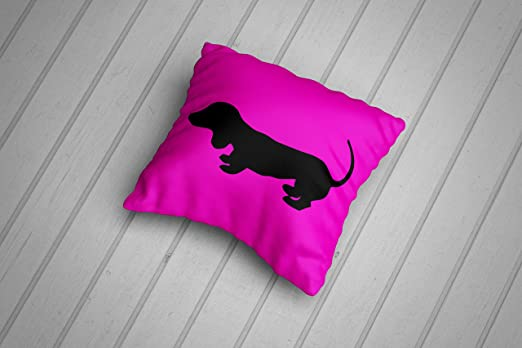Silueta de cachorro de perro salchicha cojín - rosa: Amazon ...