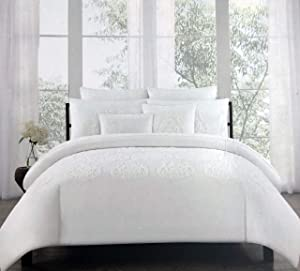 Tahari Home 3 Piece Full/Queen Size Luxury Duvet Cover Shams Set Raised Embroidered Tufted Medallion Pattern in Cream/Off-White Thread on Solid Snow White - Embroidered Tufted Percale