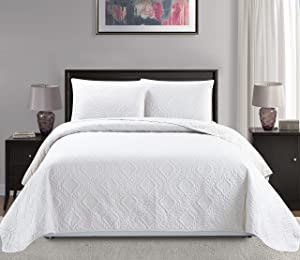 Mk Collection 3pc Full/Queen Over Size Diamond Bedspread Bed Cover Embossed Solid White New