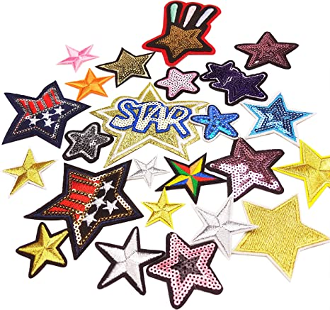 12pcs Iron on Decorative Embroidery Glitter Sequin Patches for Jeans Clothes