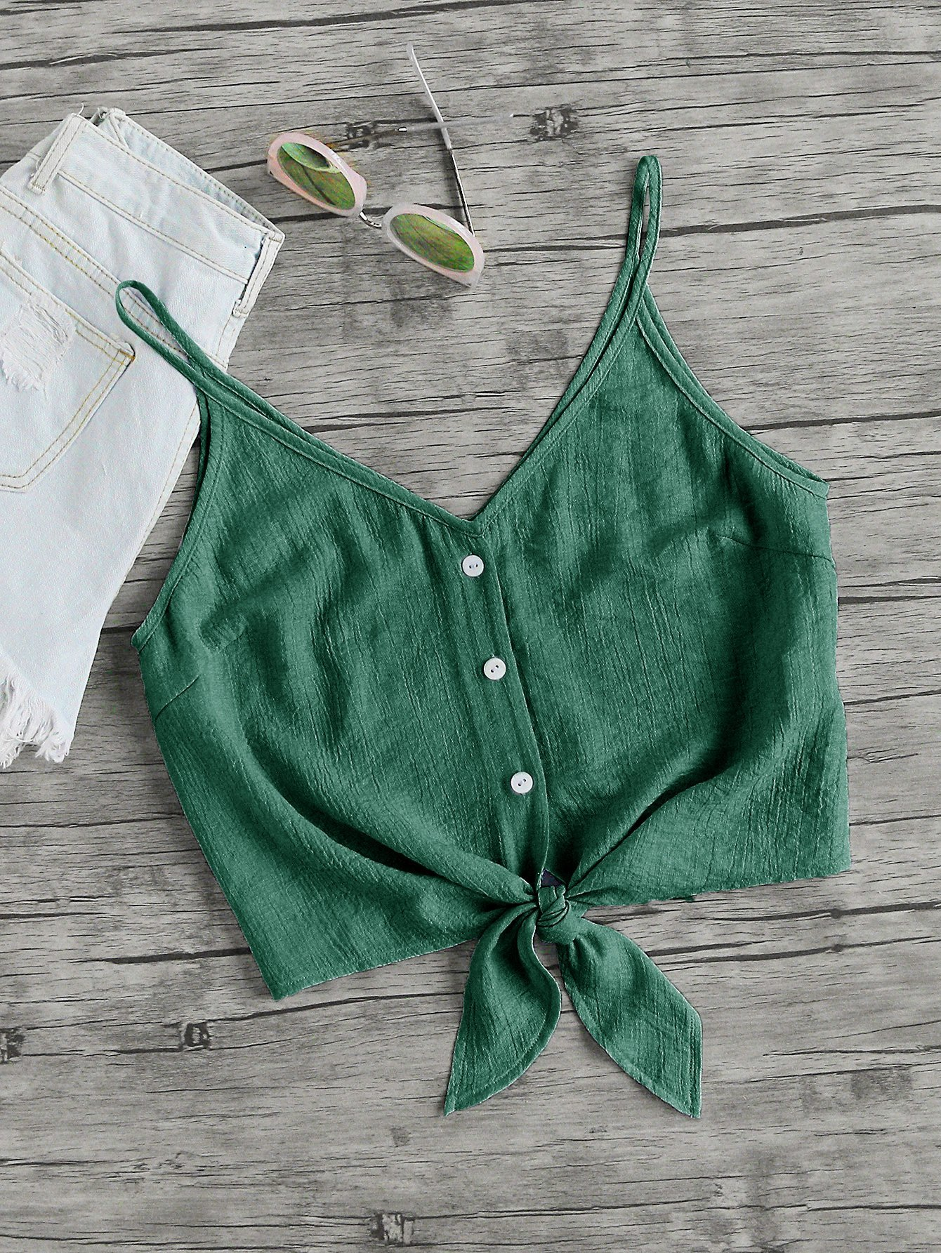 MakeMeChic Women's Casual V Neck Button Seft Tie Front Crop Cami Tops Camisole Green S by MakeMeChic (Image #4)