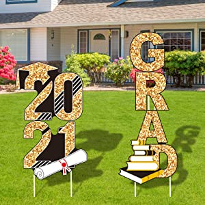 URATOT Gold and Black ''2021 Grad'' Yard Signs Including 4 Pieces Glittering Graduation Yard Signs with 8 Pieces Stakes Party Outdoor Decorations, Waterproof Lawn Decor, Graduation Party Supplies