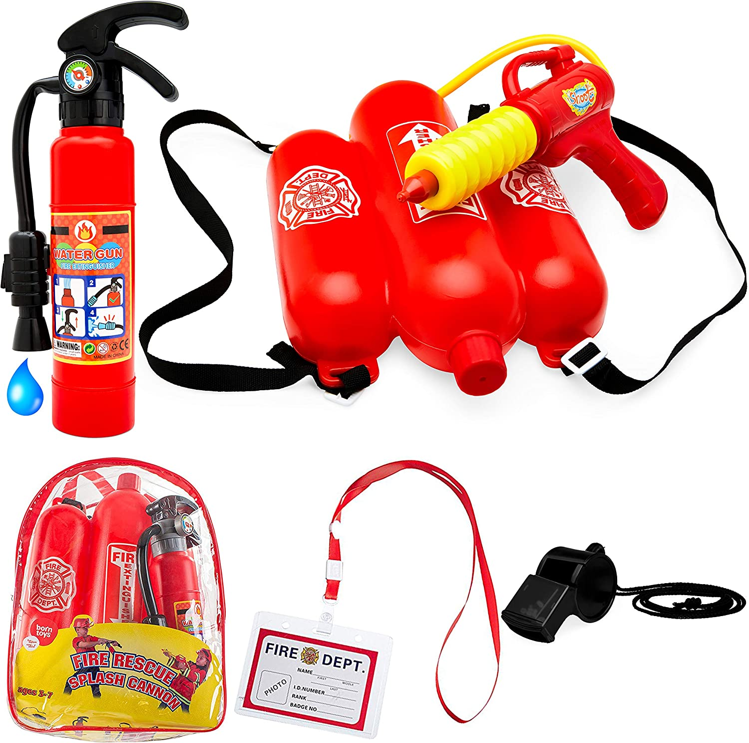 Born Toys 5 Piece Premium Firefighter Water Gun Toy Set and fire Toy Extinguisher. for Fireman Costume, Outdoors, Pools, Summer,Beach,Bath and Halloween.Includes Bag