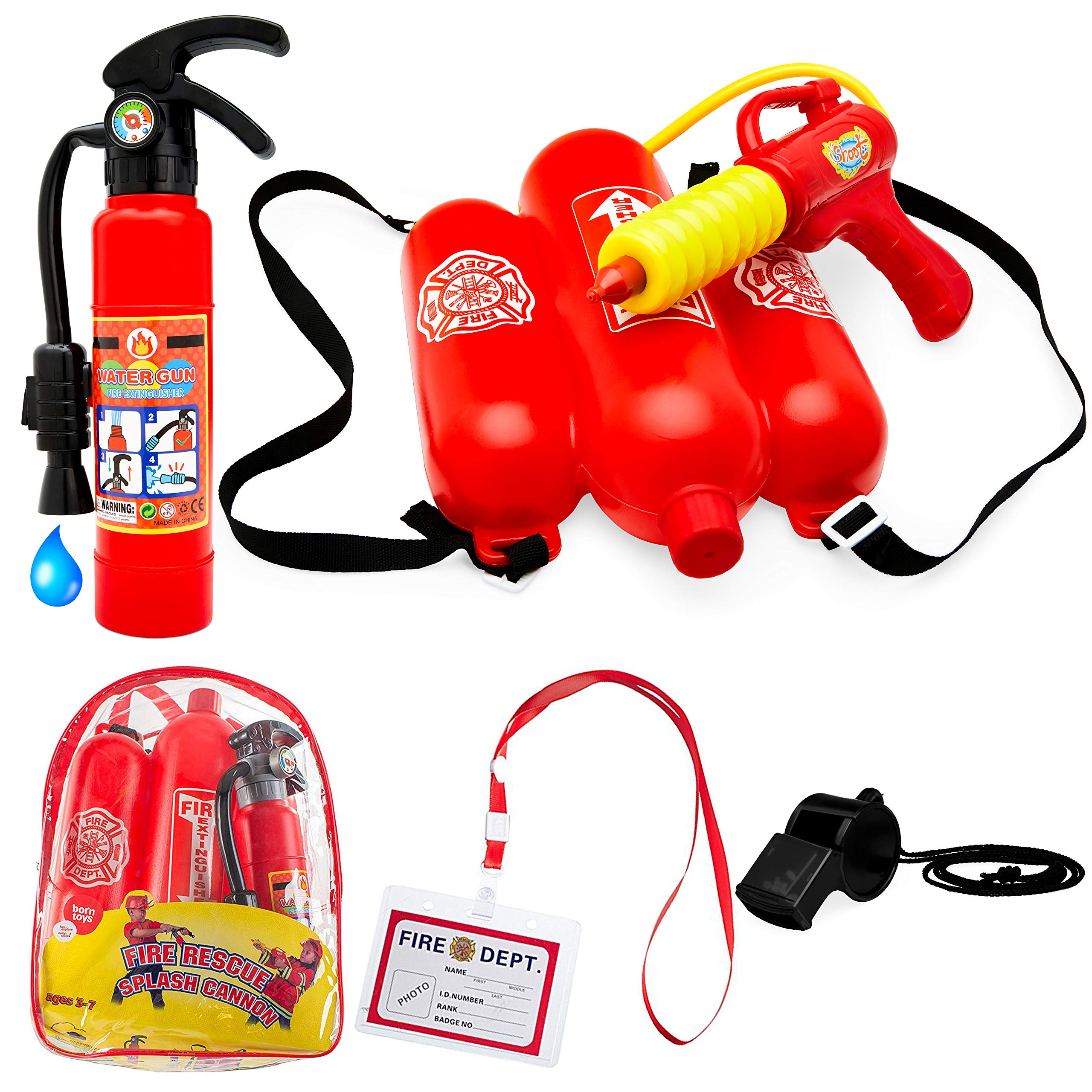 Born Toys 5 Piece Premium Firefighter Water Gun Toy Set and fire Toy Extinguisher. for Fireman Costume, Outdoors, Pools, Summer,Beach,Bath and Halloween.Includes Bag by Born Toys