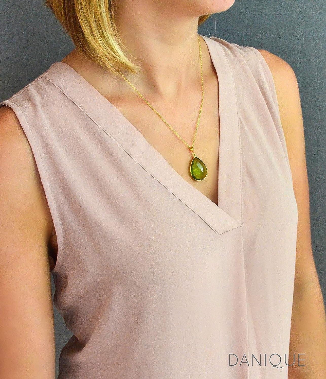 0b8f1c2da6d8e Amazon.com: Large Teardrop Garnet Quartz Pendant Necklace, January ...