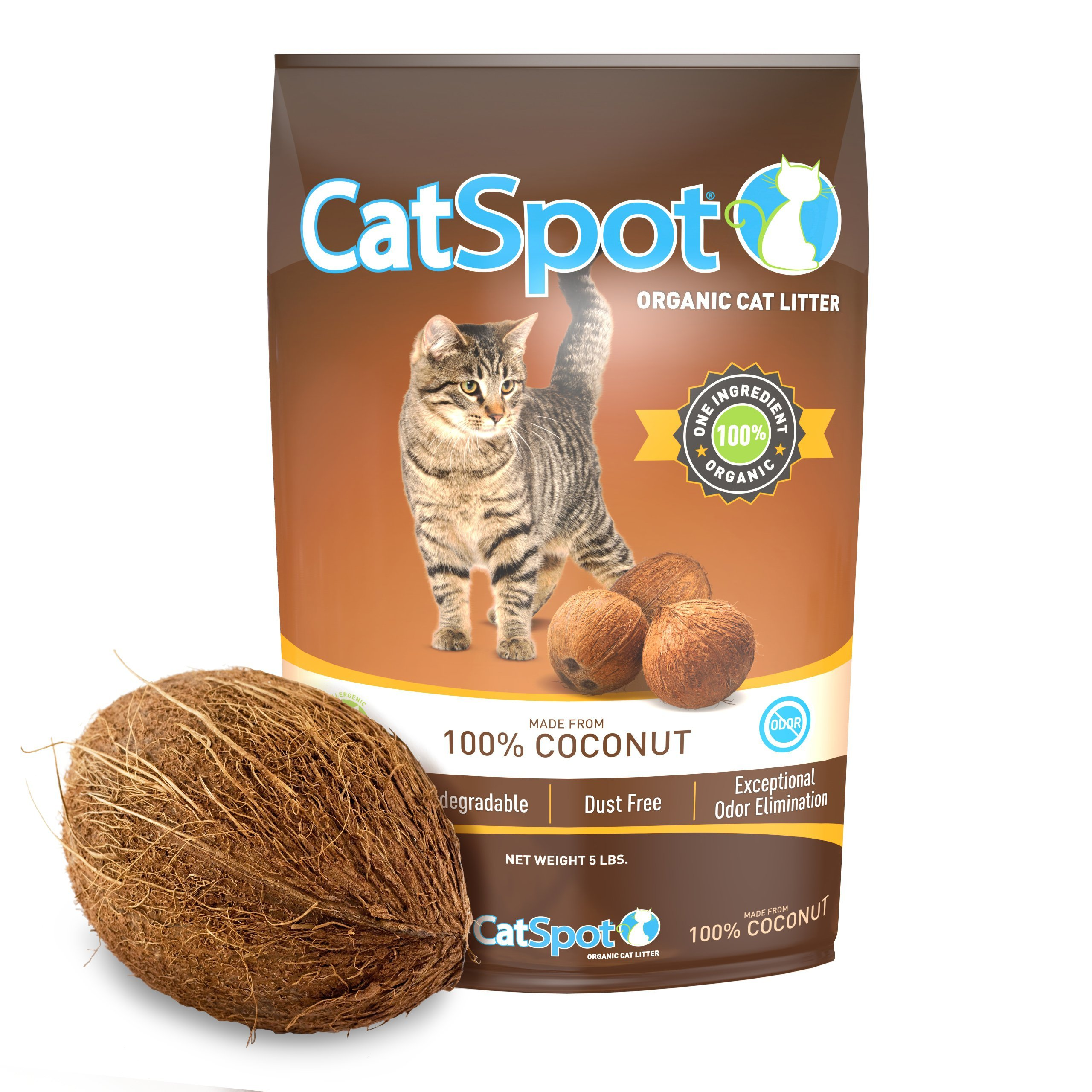 CatSpot Litter, 100% Coconut Cat Litter: All-Natural, Lightweight & Dust-Free. Non-Clumping (1 Bag)