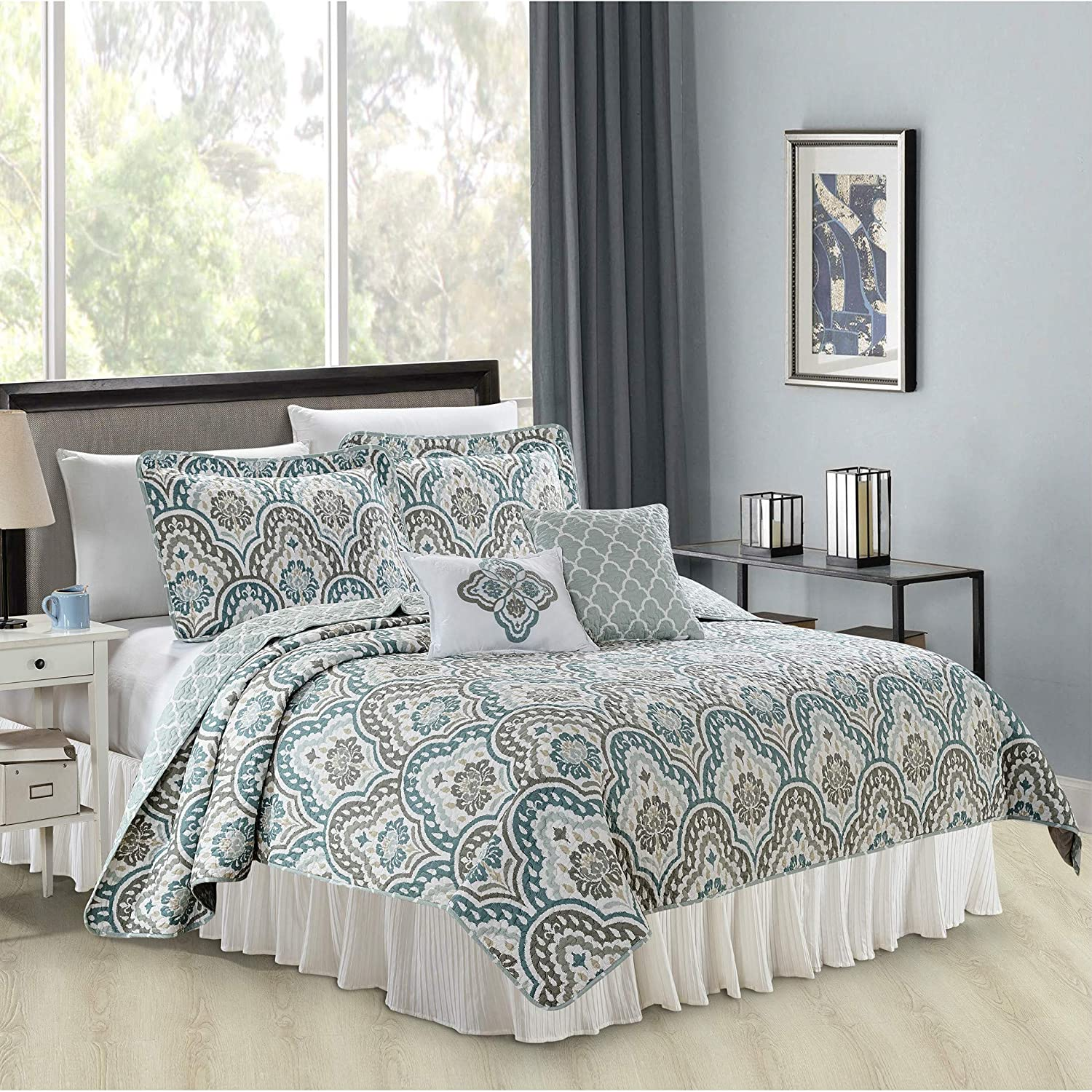Queen Serenta Tivoli Ikat Design 5 Piece Teal Aqua Printed Prewashed Quilted Coverlet Bed cover Summer Quilt Blanket with Cotton Polyester Filled Embroidery Pillow Set