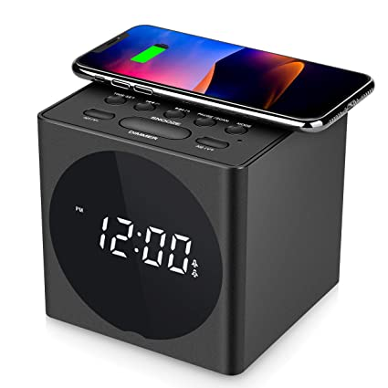 low priced 714f9 1de93 SVINZ Wireless Charging Dual Alarm Clock Radio with Bluetooth Speaker  Compatible iPhone X, LED Display Dimmable Clock with USB Charger Port for  ...