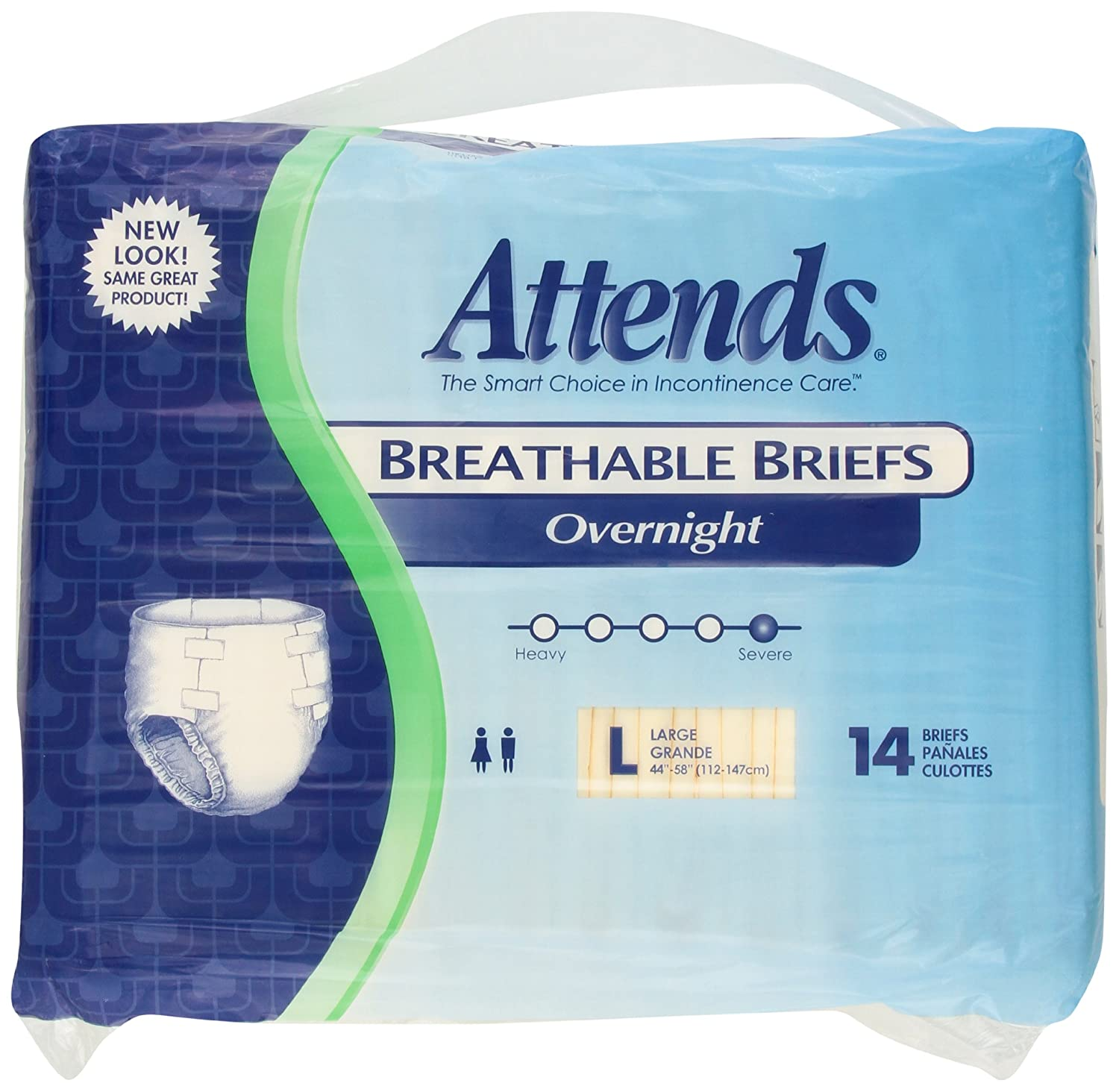 Amazon.com: Attends Overnight Breathable Briefs size Large, 14 Count: Health & Personal Care
