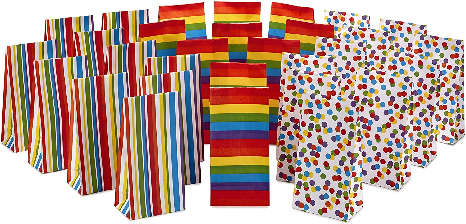 Hallmark Celebrate Rainbow Party Favor and Wrapped Treat Bags (30 Ct., 10 Each of Vertical Stripes, Horizontal Stripes, Dots) for Birthdays, Baby Showers, School Lunches, Care Packages, May Day