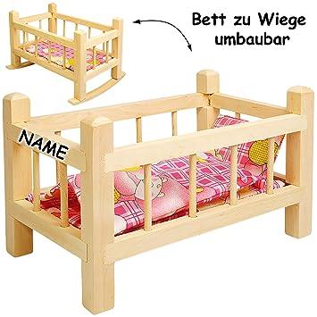 2 In 1 Puppenbett Puppenwiege Aus Holz Umbaubar Mit