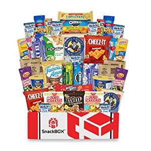 Care Package for College Students Snack Box (40 Count) Great For Studying, Exams, Valentines Day, Date Night, Finals, Dorms, Deployment, Military, Office Snacks and Gift Baskets From Snack Box