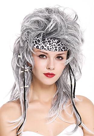 WIG ME UP ® - 91530 Peluca Mujer Hombre Carnaval Halloween Salvaje Moteado Gris Negro años