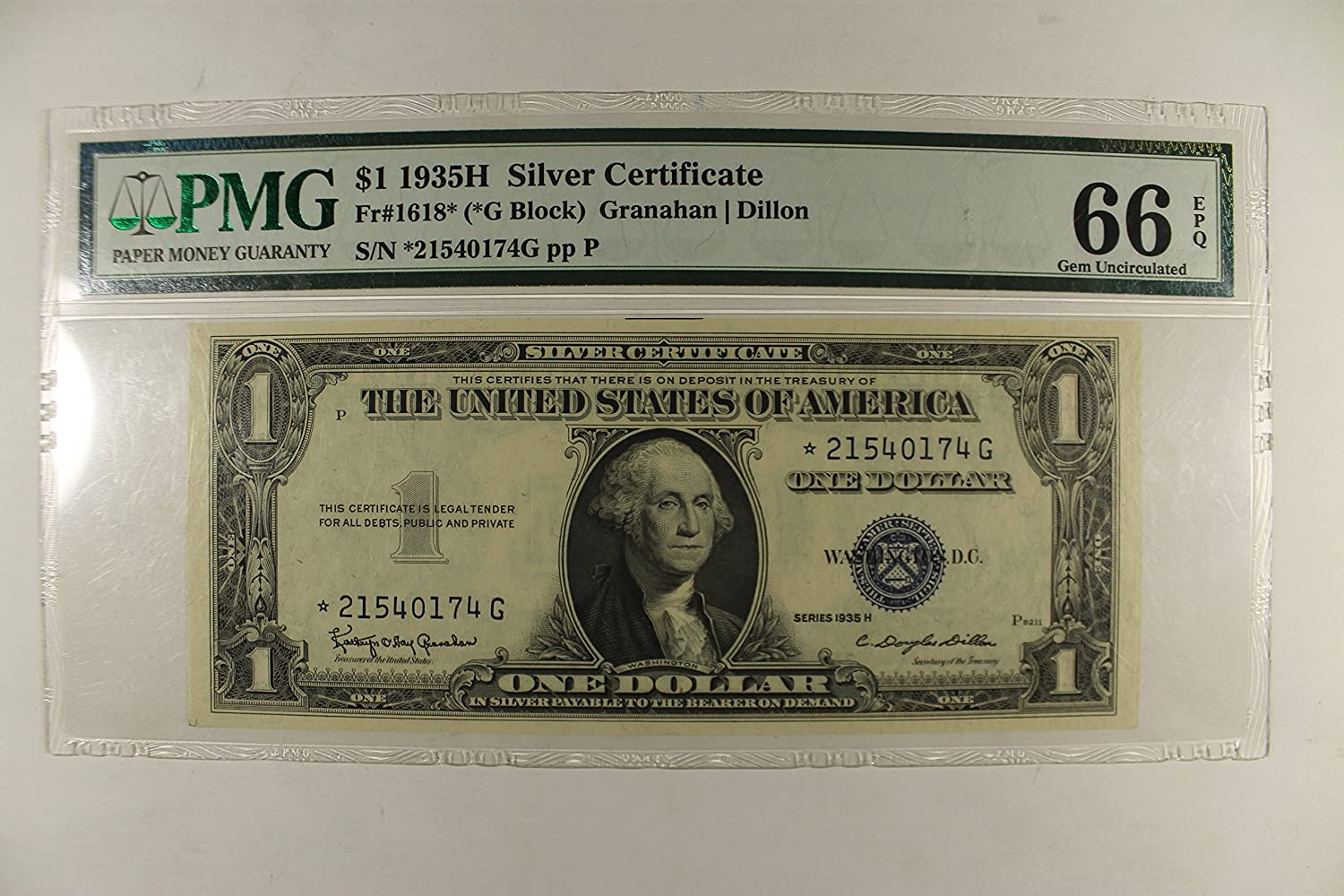 1935 H Silver Certificate 1 Pmg Gem Uncirculated 66 At Amazons