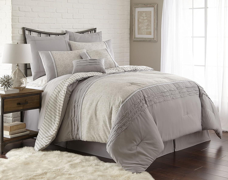amazoncom amrapur overseas camila 8piece pleated comforter set grey queen home u0026 kitchen