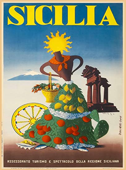 Sicilia Italia Sicily Italy Italian Girl With Fruit Vintage European Travel Advertisement Art Poster Print