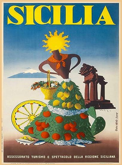 Sicilia Italia Sicily Italy Italian Girl With Fruit Vintage European Travel Advertisement Art Poster Print