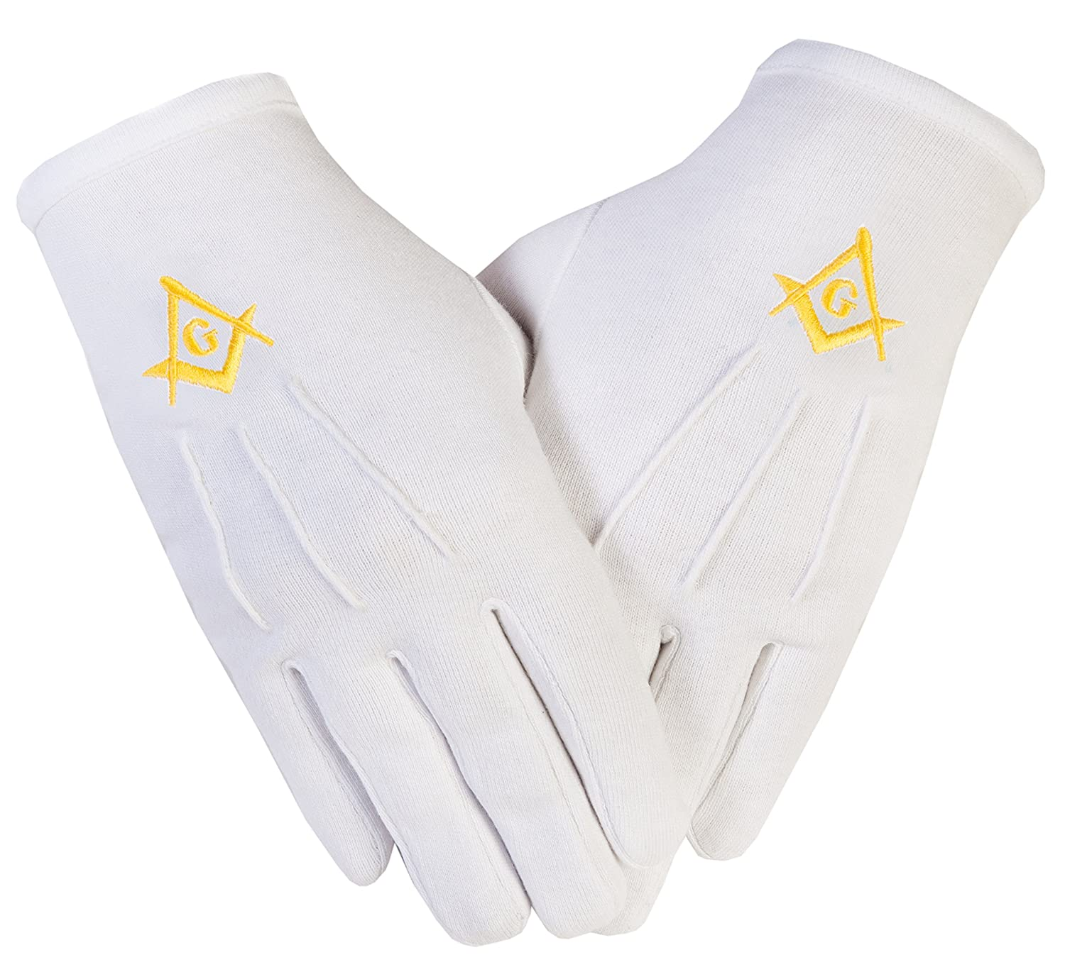 Masonic Freemasons Cotton Gloves Embroidered in Gold Square Compass S&C