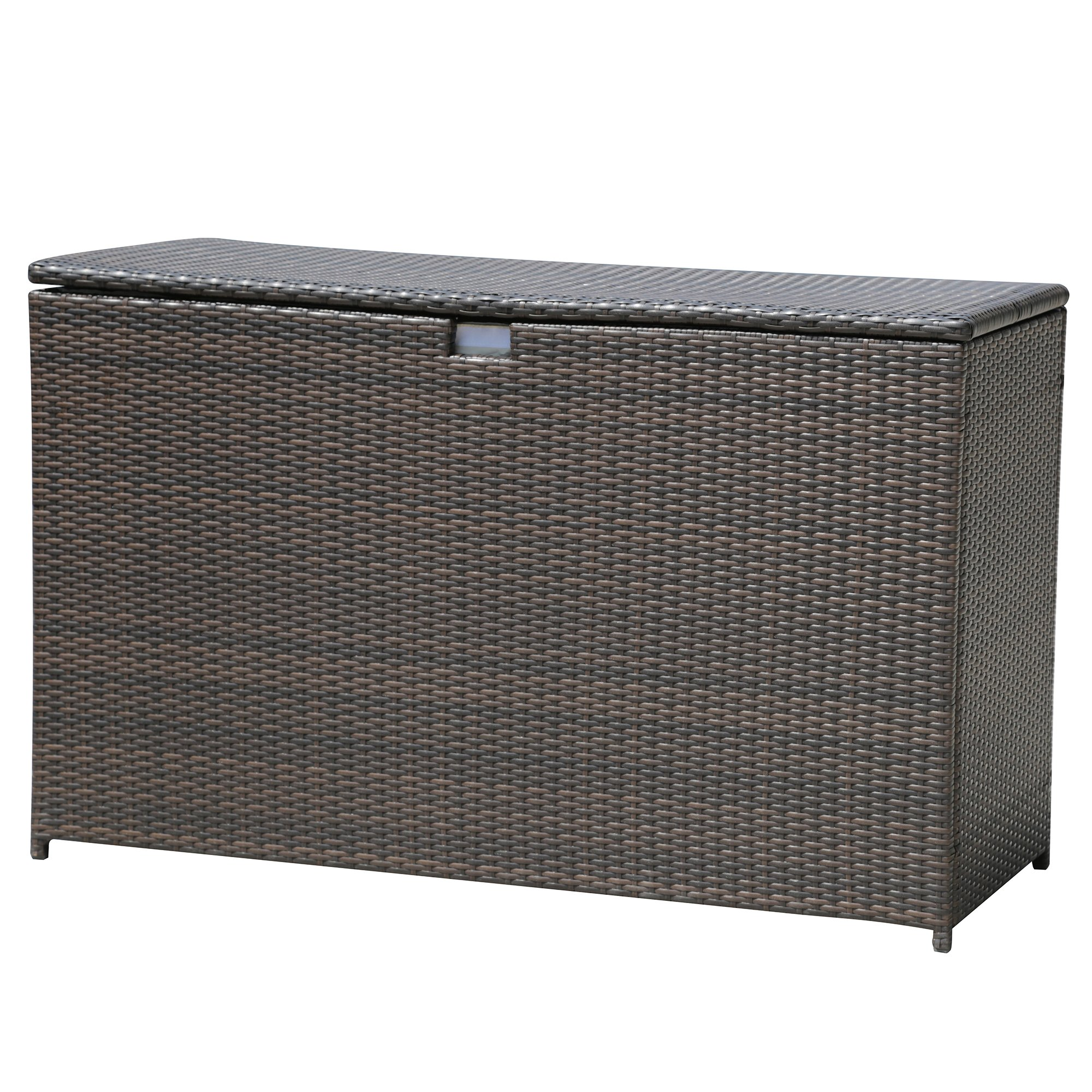 PATIOROMA Outdoor Patio Aluminum Frame Wicker Cushion Storage Bin Deck Box, Espresso Brown by PATIOROMA (Image #2)