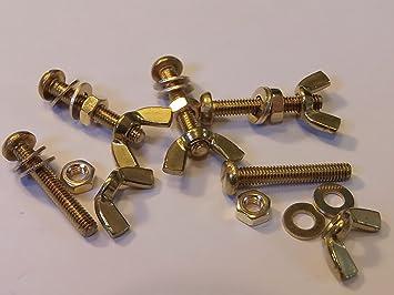 M4X16 BRASS PAN HEAD BOLTS NUTS /& WASHERS /& WING NUTS PACK 0F 5 BRASS SET SCREWS