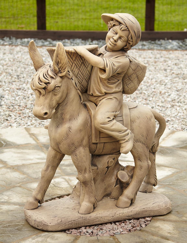 Donkey ornaments - Large Garden Statues Boy Donkey Stone Figurine Ornament