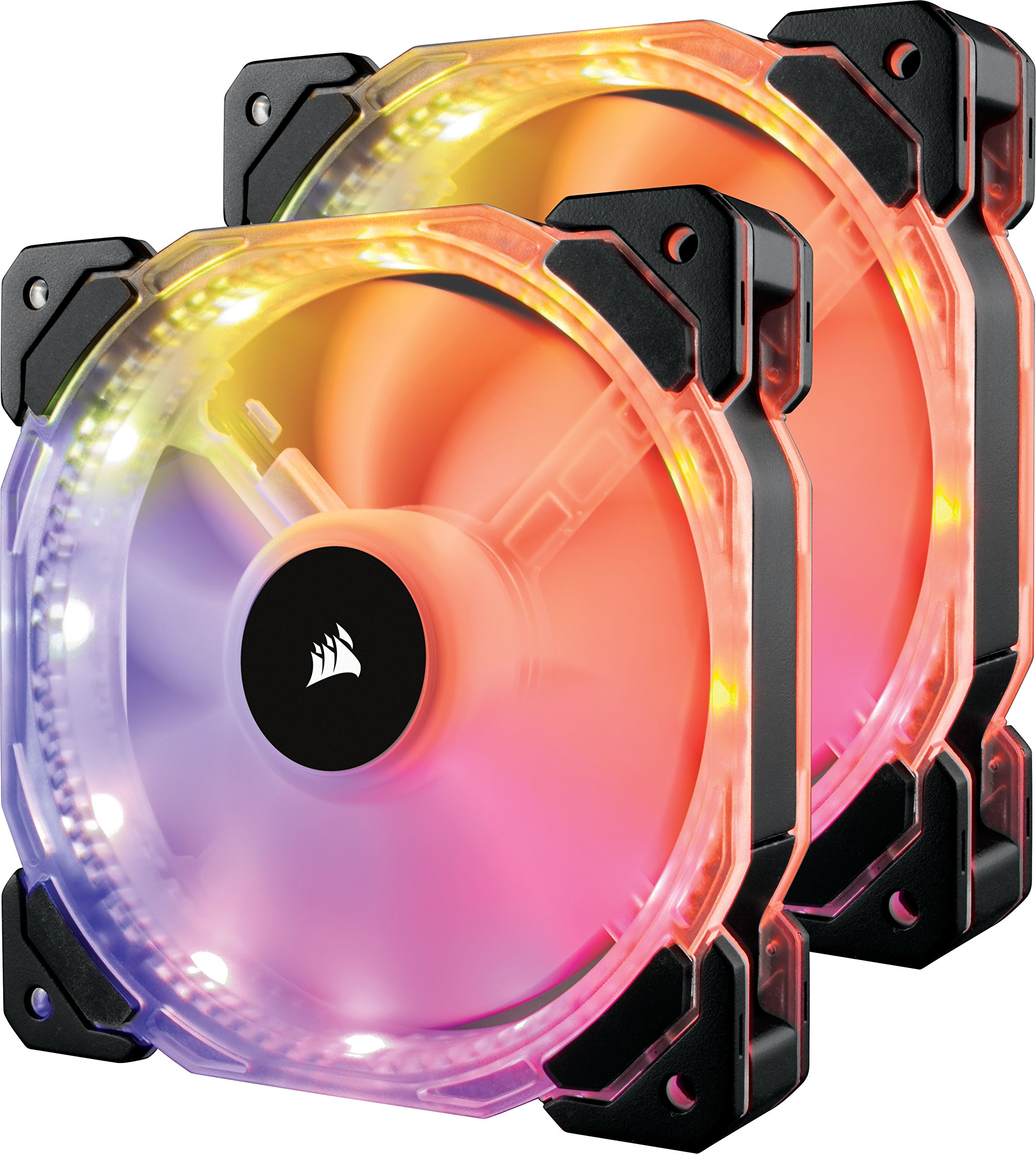 Corsair HD Series HD140 RGB LED 140mm High Performance RGB LED PWM Dual Fans with Controller Cooling (CO‐9050069‐WW) by Corsair (Image #1)