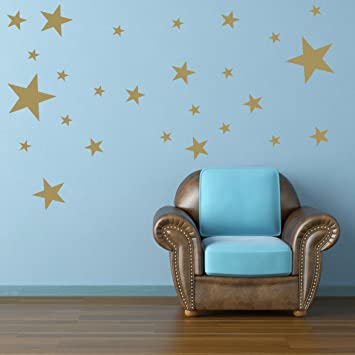 STERNEN SET Kinderzimmer Wandsticker 26 Stück Sterne Sternenhimmel ...