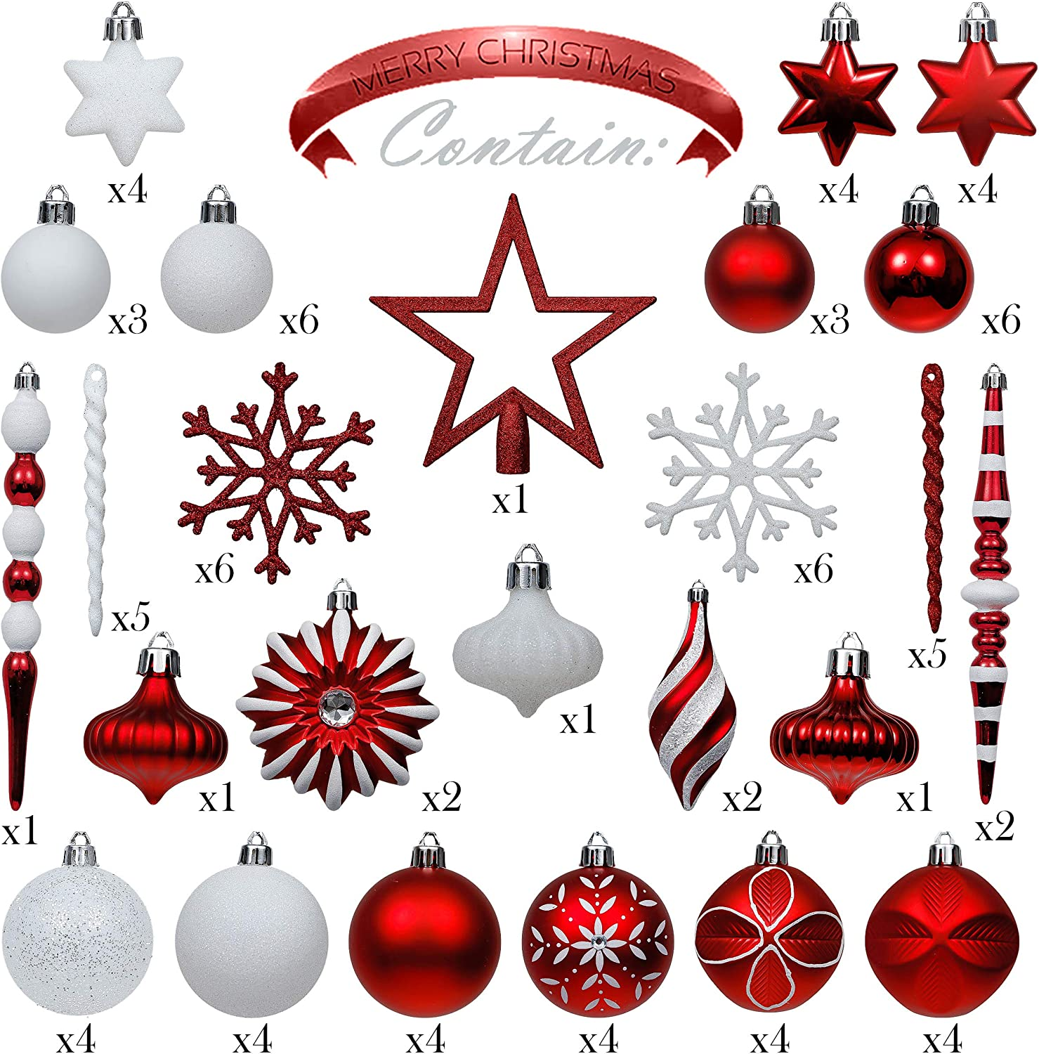 Themed with Tree Skirt Not Included Valery Madelyn 100ct Traditional Shatterproof Christmas Ball Ornaments Red and White with Tree Topper Christmas Tree Ornaments Decorations Assorted Bulk