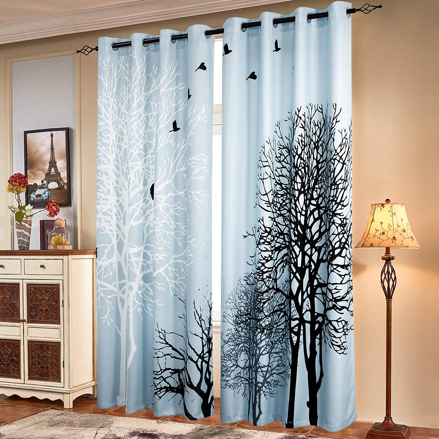 Subrtex Printed Curtains Blackout For Bedroom Living Room Kids Room Dining Room Valance Colorful Window Drapes 2 Panel Set 52 X 63 Light Blue Kitchen Dining