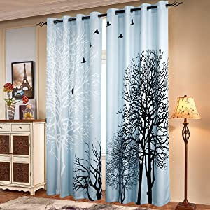 subrtex Printed Curtains Blackout for Bedroom Living Room Kids Room Dining Room Valance Colorful Window Drapes 2 Panel Set (52'' x 63'', Light Blue)
