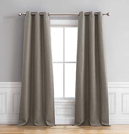 Bella Luna Henley Curtain Panel Pair 76 In X 96 Grey
