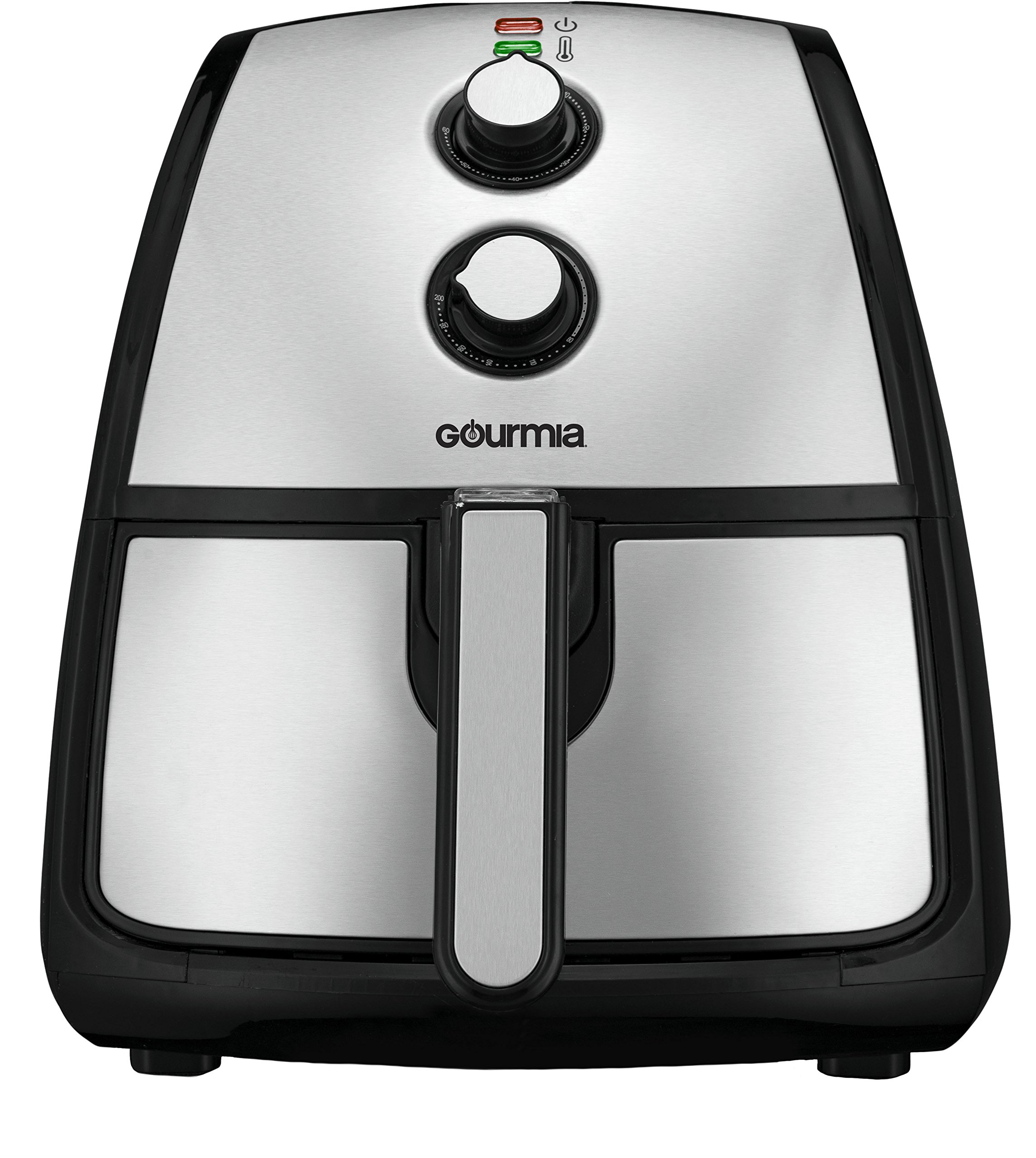 Gourmia GAF560 360° Turbo Air Fryer - Adjustable 60 Minute Timer & 400° Temperature Dials - Removable Basket - No Oil Fat Free Healthy Frying - 5 Qt -1500w - Stainless Steel - Bonus Cookbook Included