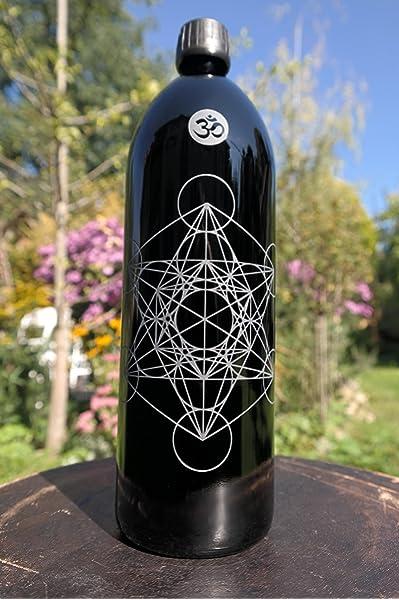 1 l Botella, Miron Cristal/púrpura Cristal con OM caracteres ...