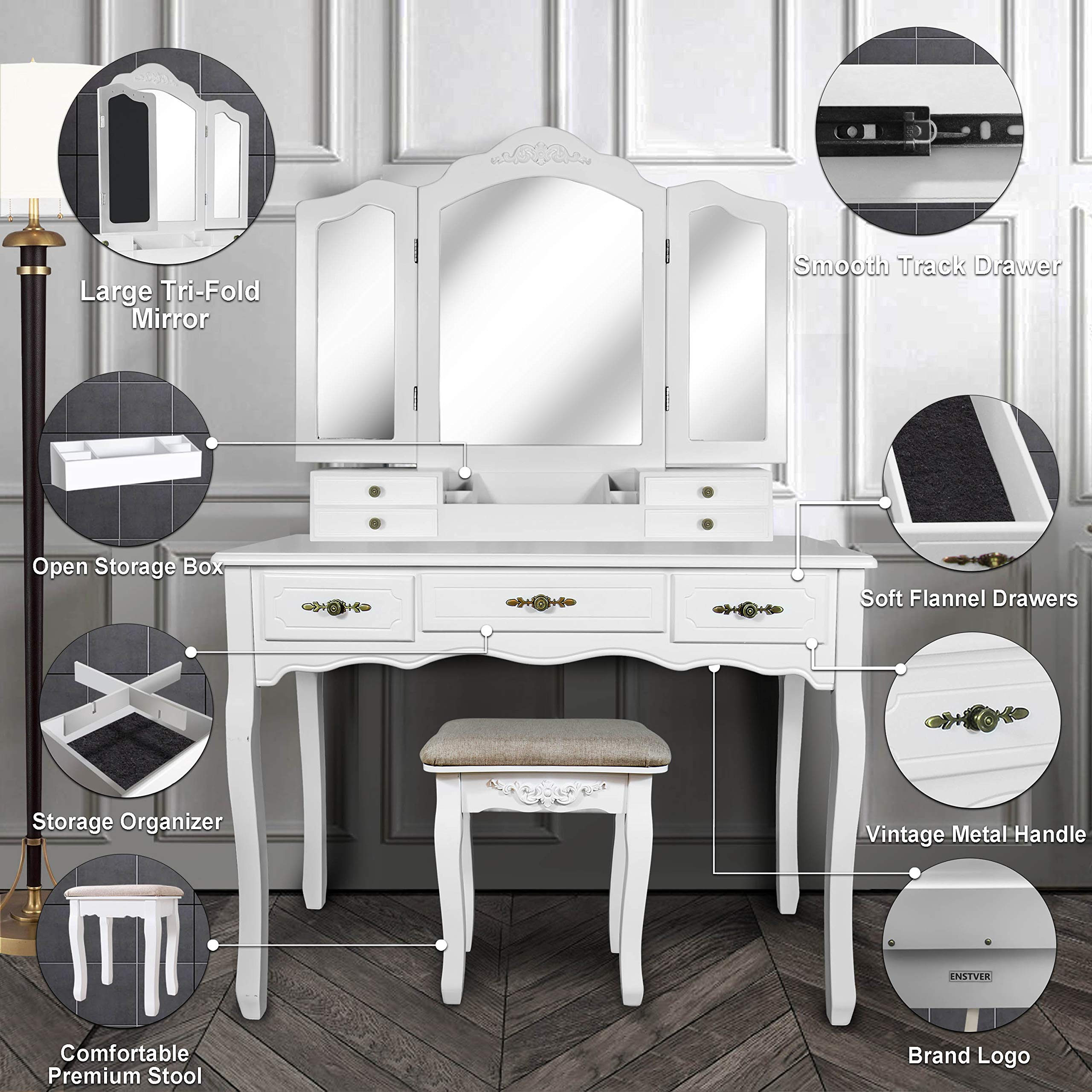 Vanity Beauty Station,Large Tri-Folding Necklace Hooked Mirrors,6 Organization 7 Drawers Makeup Dress Table with Cushioned Stool Set - White by ENSTVER (Image #7)