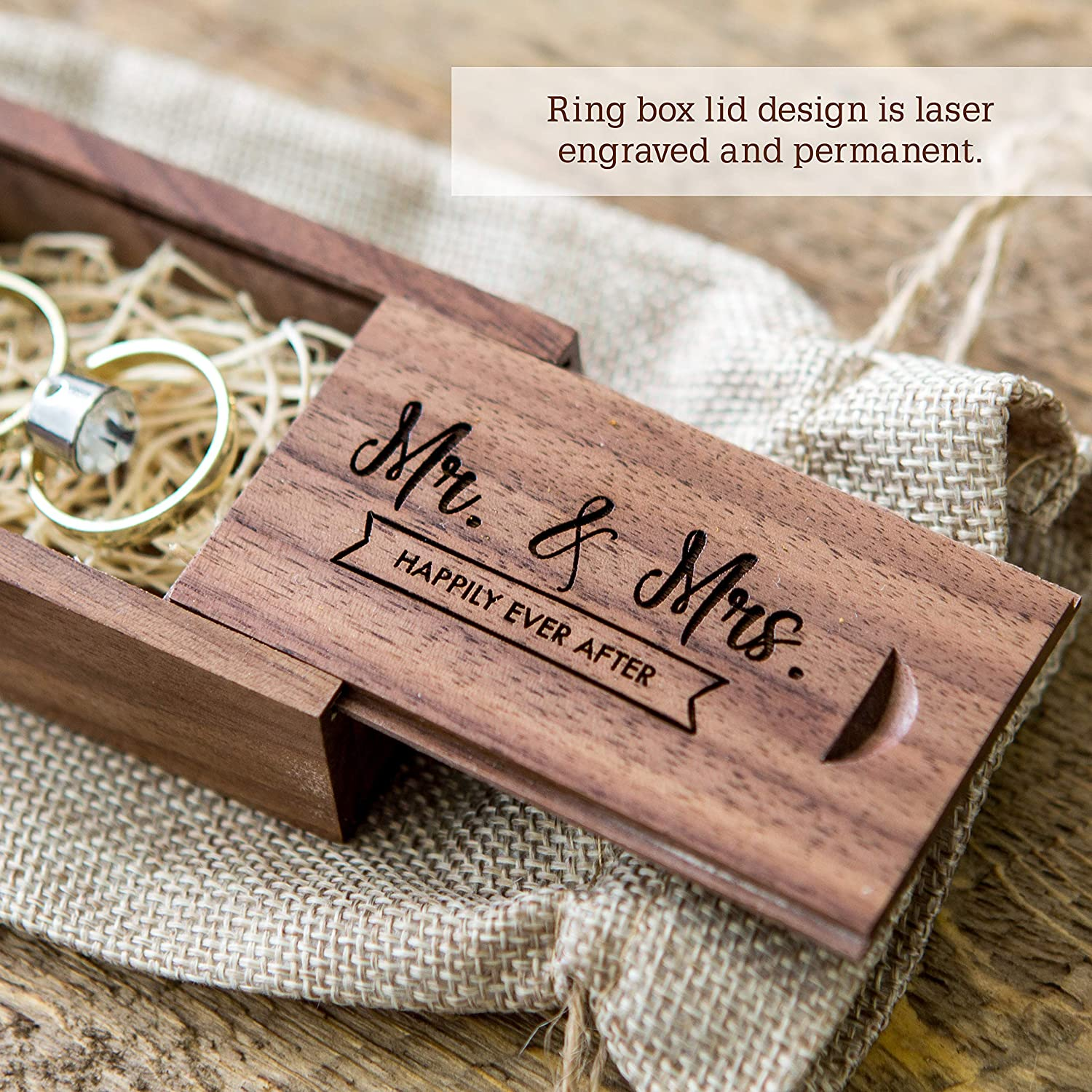 Mr /& Mrs Happily Ever After Wood Wedding Ring Box Small Ring Bearer Box Engagement Proposal Ring Box