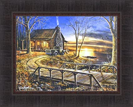 Amazon Com Simpler Times By Jim Hansel 17x21 Cabin Lake Old