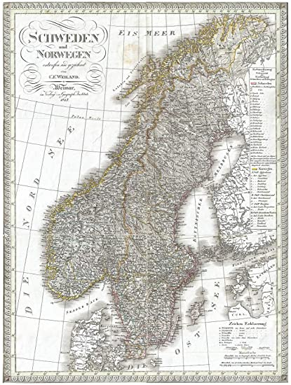 picture about Scandinavia Map Printable identified as : Ancient 1827 Weiland Map of Scandinavia